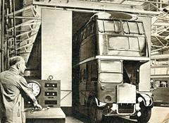 London transport RTL type bus leaves paintshop oven Aldenham works 1956. (Ledlon89) Tags: rt rtbus aecregent rtl leylandtitan leyland aec parkroyal lt lte londontransport aldenham aldenhamworks overhaul londonbus londonbuses bus buses london vintagebus 1950s