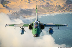 EMBRAER A-1M AMX (Força Aérea Brasileira - Página Oficial) Tags: a1m aeronave brazilianairforce embraera1amx fab forcaaereabrasileira fotojohnsonbarros turbofanrollsroycespey807 natal rn brazil bra 131105joh6155cjohnsonbarros cloud clouds blue sky sea mar céu nuvem avião aircraft jet jato embraer greem verde areia sand duna dune