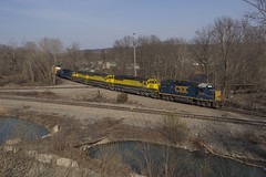 SU-99 at Pompton Jct. - 4/13/2018 (John McCloskey Jr.) Tags: newjersey transportation newyorksusquehannawestern yellowjacket diamond outdoors pomptonlakes nysw sd60 gp382 emd trains railroad