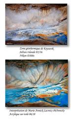 Nouvelle oeuvre d'après une de mes photos (didier95) Tags: peinture tableau acrylique photo islande seltun zonegeothermique nature fumerolle volcan