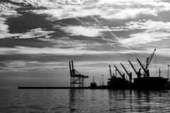 Port of Malaga (petia.balabanova(tnx for +3 million views)) Tags: sea sky port malaga spain andalusia travel nikond800 2470mm blackandwhite bw monochrome clouds water silhouette