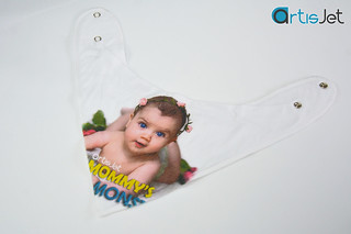 White cotton bib printing