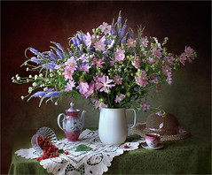 About summer (Tatyana Skorokhod) Tags: stilllifetable indoors decor bouquet meadowflowers victoria mallow flowers