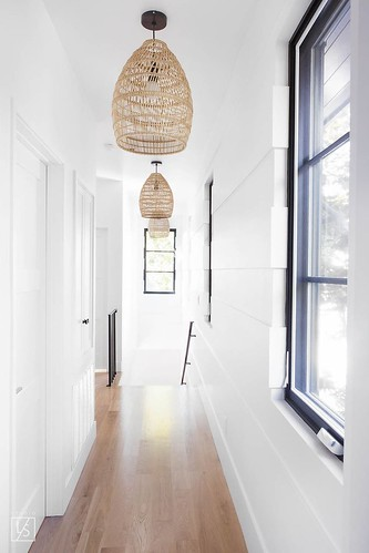 Furniture  - Entryway : berwick // white paneled hallway // rattan basket hanging pendant // steel windo...