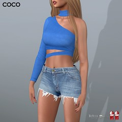 COCO Group Gift : One Shoulder Top + Choker (Blue) (cocoro Lemon) Tags: coco groupgift oneshoulder top mesh secondlife fashion maitreya slink belleza