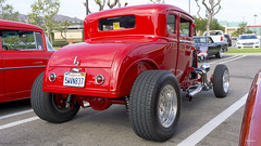 1931 Ford Model A High Boy Coupe, Chopped, fenderless, red (Pat Durkin OC) Tags: 1931ford modela highboy coupe chopped fenderless red