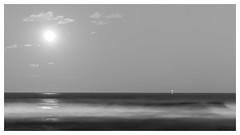 La lune- (Mirarmor) Tags: noir et blanc black white monochrome lune mer ciel paysage nuit
