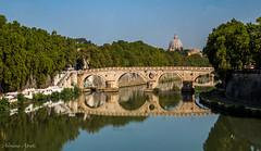 Cartoline da Roma, postcards from Rome: ponte Sisto. (adrianaaprati) Tags: postcards bridge antiquity domeofstpeter rome reflections river tiber july summer roma trees