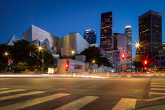 Walt Disney Concert Hall (Dan and Holly) Tags: danandhollythompson blue nightphotography sky cars nightimages street orange buildings city cityscape lightstreams danandhollycom traffic red building losangeles california southerncalifornia