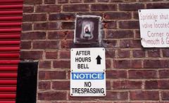 Water Street (neilsonabeel) Tags: nikonfm2 nikon nikkor film analogue sign button brick newyorkcity brooklyn