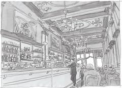 Portugal, Lisbon; Cafe A Brasileira (pirlouit72) Tags: portugal lisbon lisbonne lisboa sketch drawing dessin croquis urbansketch urbansketcher urbansketchers carnetdevoyage