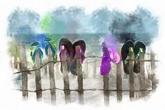 Flip Flops (arlene sopranzetti) Tags: sea shore beach painterly dap dynamic auto painter flip flops sandals dunes fence summer watercolor