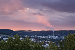 (Oliver Zimmermann) Tags: airpollution architecture building buildingexterior builtstructure city cityscape cloudsky environment factory highangleview mountain nature nopeople outdoors plant pollution residentialdistrict sky smokephysicalstructure storm sunset townscape tree