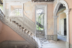 Palace of Dreams (Jonnie Lynn Lace) Tags: abandoned portugal pt europe european trip travel texture textures decay derelict detail details design peelingpaint pink white yellow green stairs staircase doors architecture arch windows light day daylight sunlight shadows collapse colours colorful bright interior house home villa ornate palace memories time contrast hallway nikkor nikon d750 exploration explore explorer urbex dream naturetakesover
