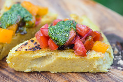 Grilled Polenta with Tomatoes and Salsa Verde (joshbousel) Tags: condiment cuisine eat food grilledpolenta italian italiansalsaverde polenta sauce tomato vegetable