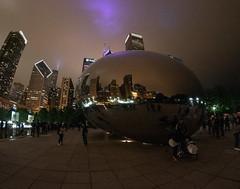 CloudGate_114978 (gpferd) Tags: bean building chicago cloudgate construction fisheye landmark lights litlights night people reflection illinois unitedstates us