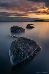 Jason Tiilikainen - Fiery Night (Jason Tiilikainen) Tags: blue sky sunset finland suomi landscape water lake rocks rocky cloudy nikon d7100 ngc