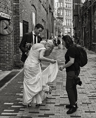 don't forget the dog (Dean Forbes) Tags: weddingshoot dog bride groom photographer seattle alley pioneersquare bw
