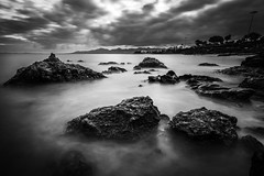 Lanzarote Coast (der-ernst) Tags: travel landscape explore longexposure longtimeexposure nature outdoor traveller island volcano volcanic hills rocks stones sea ocean cliffs mountain waves panoramic wideangle sky clouds sunset sunrise art creative