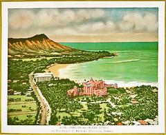 ephemera - Waikiki Beach 1929 (Jassy-50) Tags: ephemera print vintageprint vintage moanahotel royalhawaiianhotel diamondhead waikikibeach beach honolulu oahu hawaii pacificocean ocean