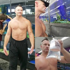 gone fishing (ddman_70) Tags: shirtless pecs abs muscle shopping sweatpants