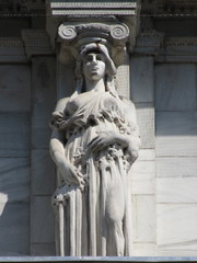 Mysterious Woman Dame Spring Caryatid NYC 5422 (Brechtbug) Tags: mysterious woman dame spring caryatid stone ladies courthouse roof statues across from madison square park new york city atlantid 2018 nyc 07152018 art architecture gargoyle gargoyles statue sculpture sculptures facade figures column columns court house law government building lady women figure form far east buildings season seasons springtime