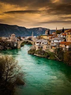 Mostar Bosnia beautiful Sunset and Lake