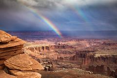 Monument Basin Rainbow (Kirk Lougheed) Tags: canyonlands canyonlandsnationalpark coloradoplateau grandview grandviewpoint grandviewpointoverlook islandinthesky monumentbasin usa unitedstates utah canyon landscape outdoor rainbow sky