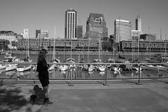 Walking in Buenos Aires (Luiz Contreira) Tags: argentina américadosul girl street streetphotography southamerica puertomadero boats boat blackwhite bw brazilianphotographer city urban pretoebranco pb buenosaires bsas