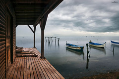 wooden house (dim.pagiantzas | photography) Tags: house wood wooden nature sea sky clouds cloudy rainy peaceful boat fishing horizon atmospheric reflections textures colors light ambient water waterscape seascape canon