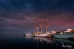 Dar Pomorza (Magda Banach) Tags: canoneos5dmarkiv darpomorza gdynia giftofpomerania poland polska sailingship tamronsp2470mmf28divcusdg2 clouds evening fullrigged longexposure museum outdoor outside port reflection ship water