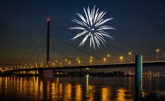 Spring funfair fireworks (Norbert Clausen) Tags: thebluehour bluehour blaue stunde night nacht feuerwerk kirmes frühling reflections langzeitbelichtung longexposure