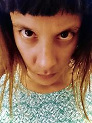 177/365: elfie (wonky stare) (Fille.de.Lumière) Tags: me ofme selfportrait selfstudy selfie peculiarfaces distort eyes browneyes stare glare regard leregard