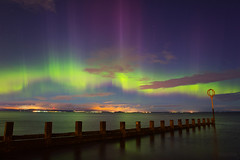 Aurora over Portobello - Edinburgh (www.edinburghhd.co.uk) Tags: aurora borealis astro portobello edinburgh scotland northern lights corona kp9 beach groyne night sky stars
