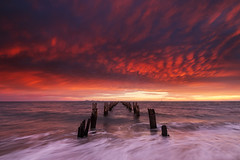 Clifton Springs (beaugraph) Tags: cliftonsprings sunrise fujixt2 fujifilm nature storm mammatusclouds clouds pier jetty seascape wave longexposure australia victoria colourful