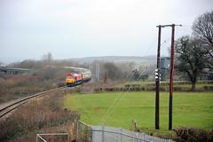 Llandevenny 77368 (kgvuk) Tags: railways trains southwales llandevenny locomotive diesellocomotive southwalesmainline bishtonflyover class66 66230 dbcargo severnaggregator railtour class60 60001