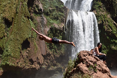The Diver (The_Kevster) Tags: africa morocco waterfall water dive diver man woman people portrait action bokeh light shadows nikon d3300 dslr ouzudfalls ouzud holiday tourists midair cascade grass green