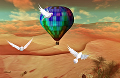 Flying thoughts (Milla DelRay) Tags: secondlife sl nature desert sky cloud clouds tree summer season seasons bird birds dove doves hotairballoon devin´seye devinseye sim landscape landscapes art