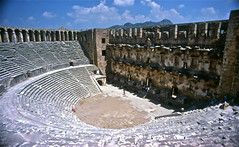 Aspendos, Turkey. 1985 (vittorio vida) Tags: turkey asia europe travel cappacocia anatolia van lake churches minarets tomb grave mountain theater roman greek ephesus efeso pergamon brothel anampur aspendos tokali elmali