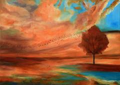 L'arbre dans le soir (Croc'odile67) Tags: peintureàlhuile painting oilpainting peinture paysage landscape
