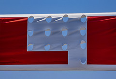 13 holes (MyArtistSoul) Tags: suspended stretched banner red sale white blue sky holes vents cardealership simple minimal abstract urban 8198