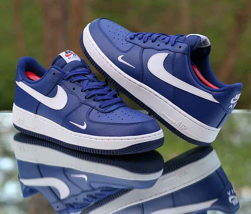 Nike Air Force 1 Low  07 Deep Royal Blue White Mini Swoosh 820266-406 e4f4e0e56