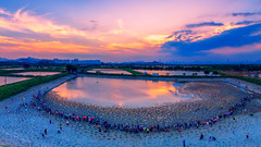 Tai Sang Wai fish ponds (3dgor 加農炮) Tags: drone phantom4pro fish ponds sunset water reflection