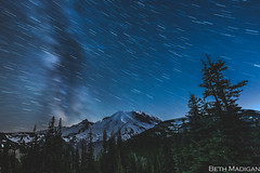 Star streaks over Mount Rainier! (Beth Madigan) Tags: mountrainier mtrainiernationalpark rainier mrnp nationalpark startrails astrophotography nightsky night sunrisevisitorcenter climbers mountrainiernationalpark mountain washington pnw milkyway stars