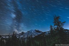 Star streaks over Mount Rainier! (Beth Madigan) Tags: mountrainier mtrainiernationalpark rainier mrnp nationalpark startrails astrophotography nightsky night sunrisevisitorcenter climbers mountrainiernationalpark mountain washington pnw milkyway stars