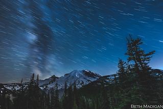 Star streaks over Mount Rainier!