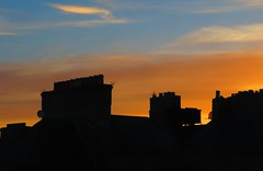 Rotunda Sunset 19-04-2018 (gallftree008) Tags: rotundahospital sunset 19042018 dublincity ireland blue classic clouds cloud dublin dub eire eireann effect irish landmark nature naturesbeauties naturescreations twilight twilightzone silhouette sun sunsets town city citycentre black orange tricolori tricolour sky vanishingpoints vanishing yellow amazingnature hospital roof roofed roofs chimney
