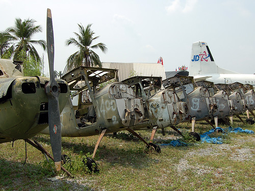 A Selection of the 19 Cessna O-1 Bird dogs stored