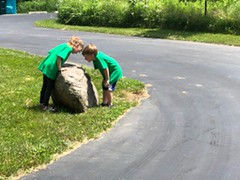 "Paul and Inde Inspect a Rock at Cousins Camp • <a style=""font-size:0.8em;"" href=""http://www.flickr.com/photos/109120354@N07/42226879105/"" target=""_blank"">View on Flickr</a>"