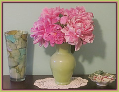 Pink Peony Bouquet (bigbrowneyez) Tags: peonies blossoms fresh beautiful delightful amazing myhome nature natura lovely romantic delicate vase special gorgeous pink petals bello bellissimo foto precious dish trinketdish gift fabulous glass table wall stilllife fiori flowers fleurs display pinkpeonybouquet